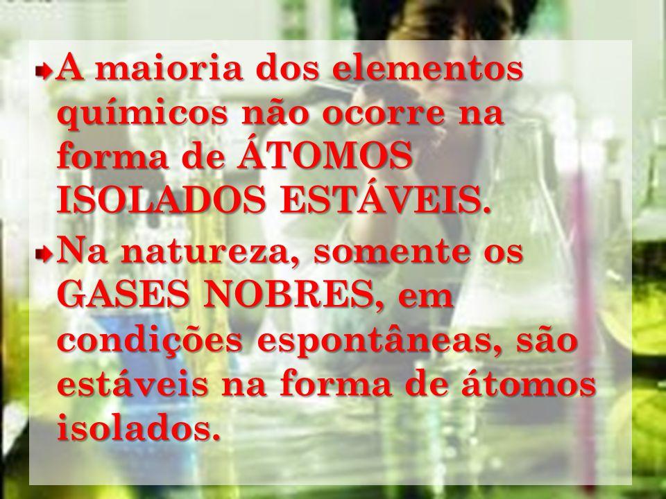 A maioria dos elementos químicos não ocorre na forma de ÁTOMOS ISOLADOS ESTÁVEIS. Na natureza, somente os GASES NOBRES, em condições espontâneas, são