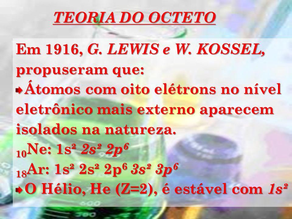 TEORIA DO OCTETO Em 1916, G. LEWIS e W. KOSSEL, propuseram que: Átomos com oito elétrons no nível eletrônico mais externo aparecem isolados na naturez