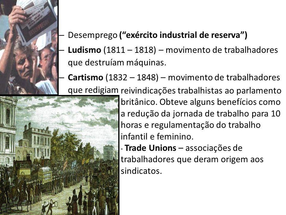– Desemprego (exército industrial de reserva) – Ludismo (1811 – 1818) – movimento de trabalhadores que destruíam máquinas. – Cartismo (1832 – 1848) –