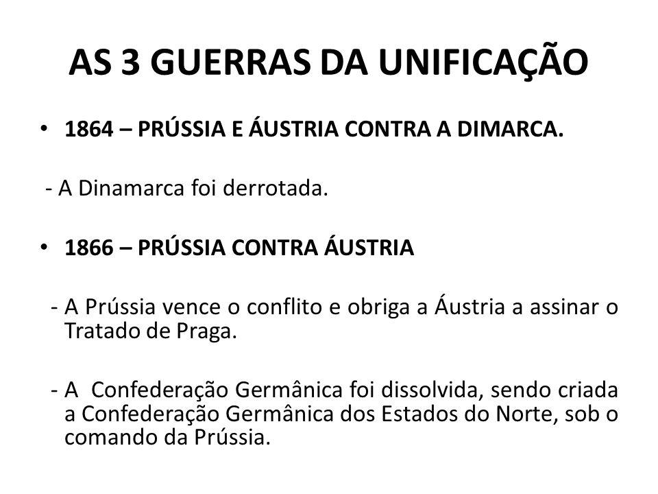 AS 3 GUERRAS DA UNIFICAÇÃO 1864 – PRÚSSIA E ÁUSTRIA CONTRA A DIMARCA. - A Dinamarca foi derrotada. 1866 – PRÚSSIA CONTRA ÁUSTRIA - A Prússia vence o c