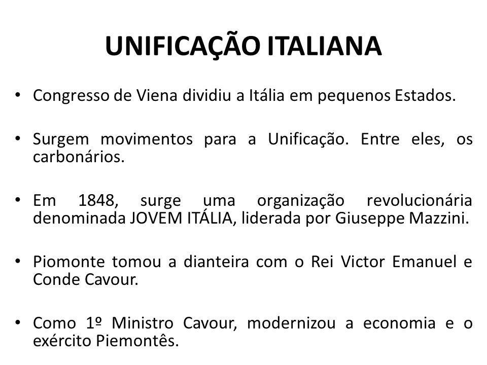 UNIFICAÇÃO ITALIANA Congresso de Viena dividiu a Itália em pequenos Estados. Surgem movimentos para a Unificação. Entre eles, os carbonários. Em 1848,