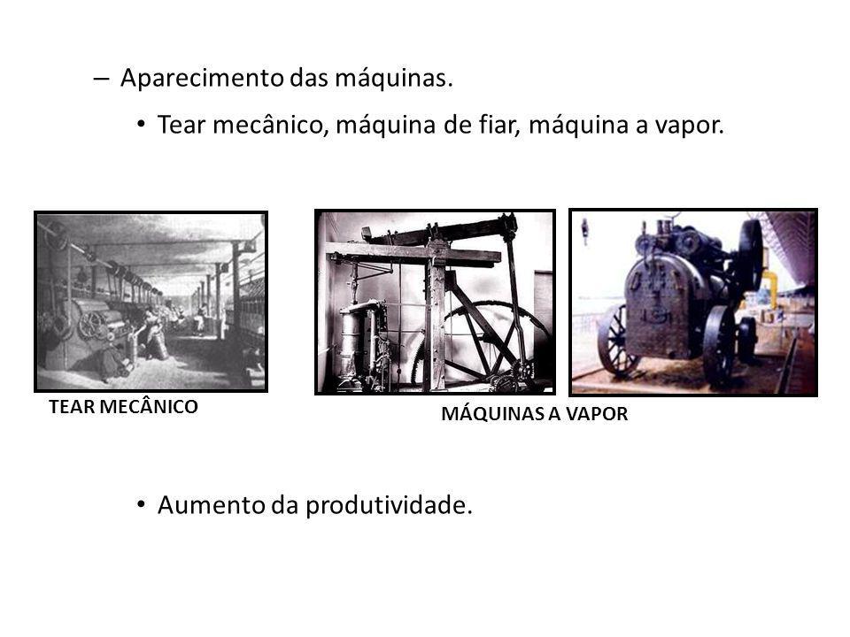 – Aparecimento das máquinas. Tear mecânico, máquina de fiar, máquina a vapor. Aumento da produtividade. TEAR MECÂNICO MÁQUINAS A VAPOR