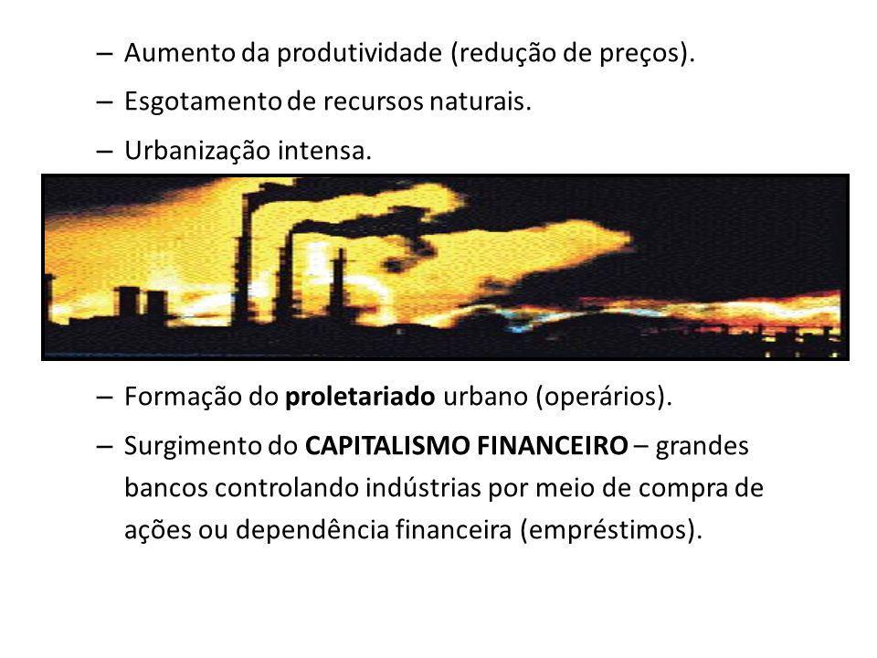– Aumento da produtividade (redução de preços). – Esgotamento de recursos naturais. – Urbanização intensa. – Formação do proletariado urbano (operário
