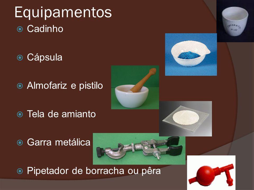 Equipamentos Cadinho Cápsula Almofariz e pistilo Tela de amianto Garra metálica Pipetador de borracha ou pêra