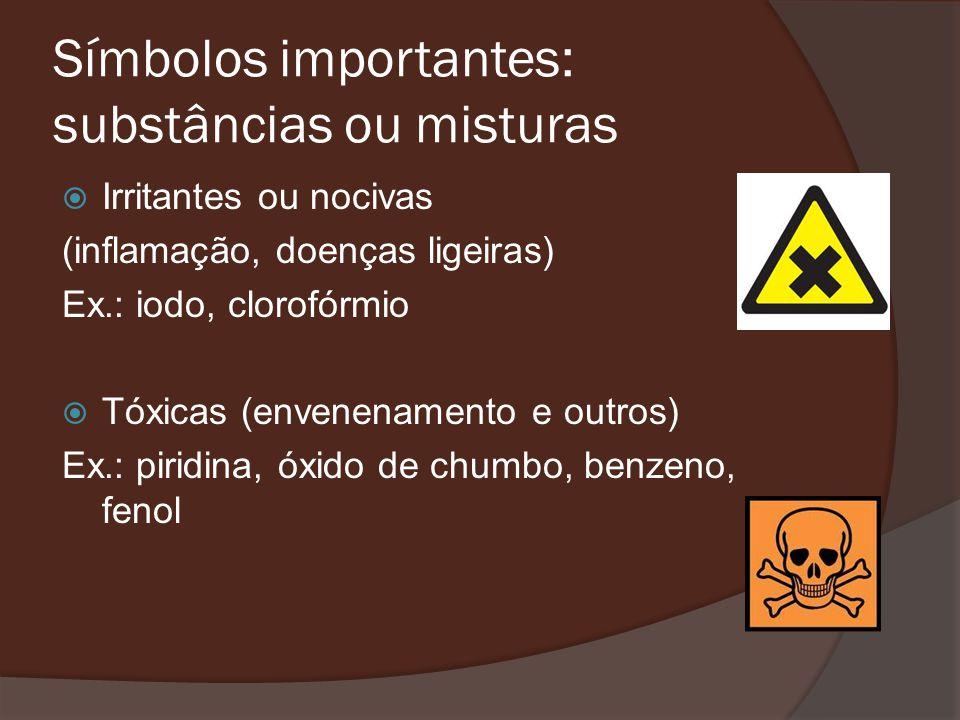 Símbolos importantes: substâncias ou misturas Irritantes ou nocivas (inflamação, doenças ligeiras) Ex.: iodo, clorofórmio Tóxicas (envenenamento e outros) Ex.: piridina, óxido de chumbo, benzeno, fenol