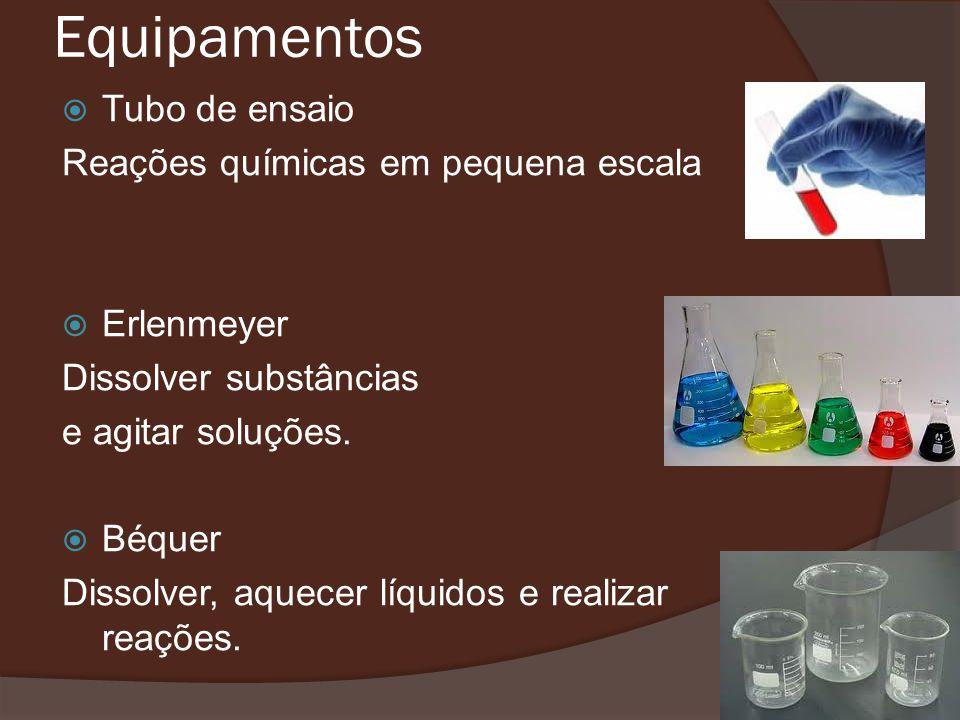 Equipamentos Tubo de ensaio Reações químicas em pequena escala Erlenmeyer Dissolver substâncias e agitar soluções.