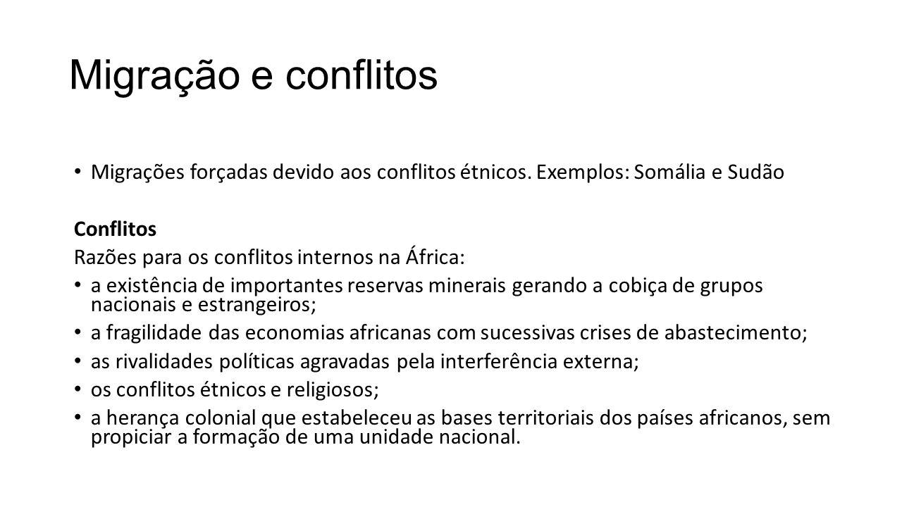 Migração e conflitos Migrações forçadas devido aos conflitos étnicos. Exemplos: Somália e Sudão Conflitos Razões para os conflitos internos na África: