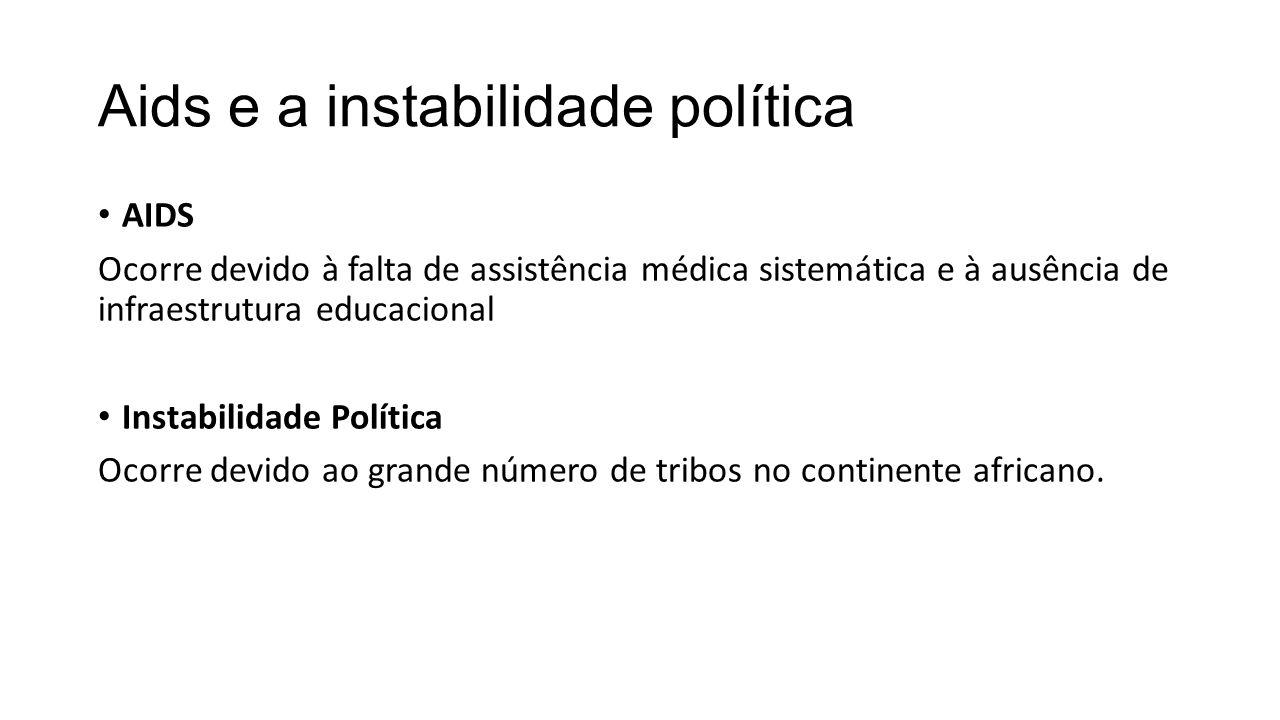 Aids e a instabilidade política AIDS Ocorre devido à falta de assistência médica sistemática e à ausência de infraestrutura educacional Instabilidade