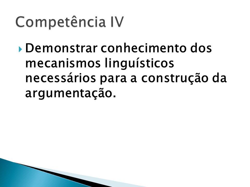Demonstrar conhecimento dos mecanismos linguísticos necessários para a construção da argumentação.
