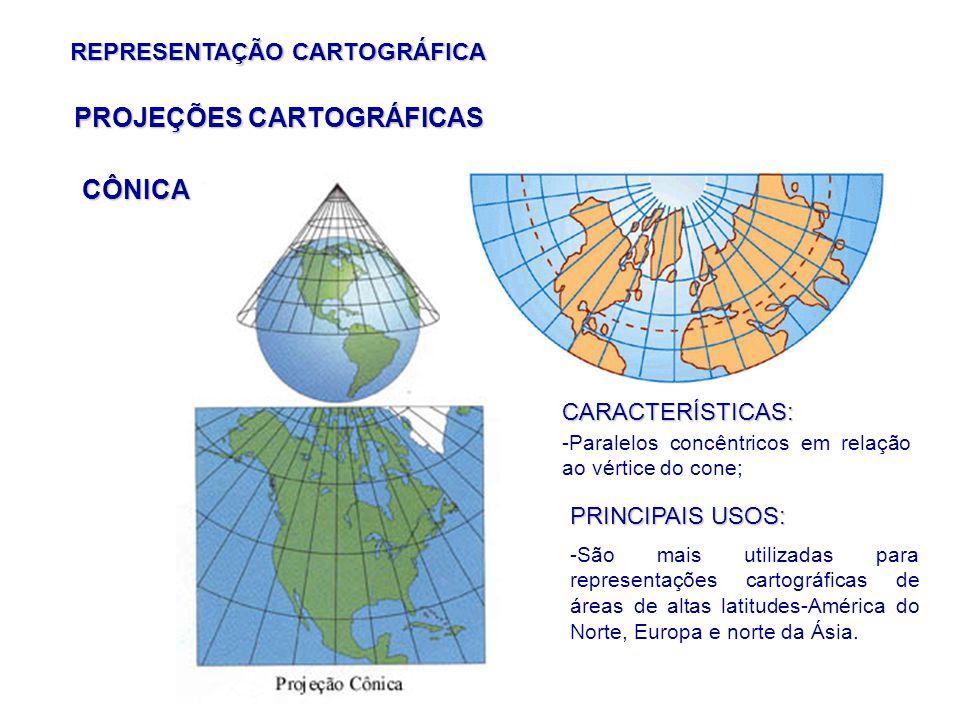 REPRESENTAÇÃO CARTOGRÁFICA CÔNICA PROJEÇÕES CARTOGRÁFICAS CARACTERÍSTICAS: -Paralelos concêntricos em relação ao vértice do cone; PRINCIPAIS USOS: -São mais utilizadas para representações cartográficas de áreas de altas latitudes-América do Norte, Europa e norte da Ásia.