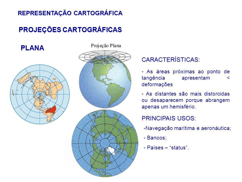 REPRESENTAÇÃO CARTOGRÁFICA PLANA PROJEÇÕES CARTOGRÁFICAS CARACTERÍSTICAS: - As áreas próximas ao ponto de tangência apresentam < deformações - As distantes são mais distorcidas ou desaparecem porque abrangem apenas um hemisfério.