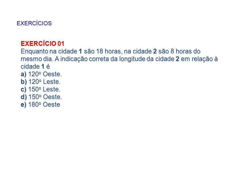 EXERCÍCIOS EXERCÍCIO 01 Enquanto na cidade 1 são 18 horas, na cidade 2 são 8 horas do mesmo dia.