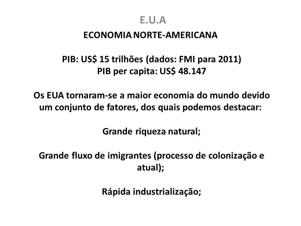 ECONOMIA NORTE-AMERICANA PIB: US$ 15 trilhões (dados: FMI para 2011) PIB per capita: US$ 48.147 Os EUA tornaram-se a maior economia do mundo devido um