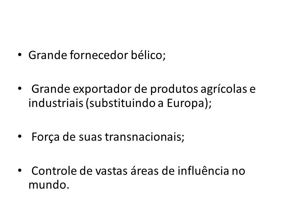 Grande fornecedor bélico; Grande exportador de produtos agrícolas e industriais (substituindo a Europa); Força de suas transnacionais; Controle de vas