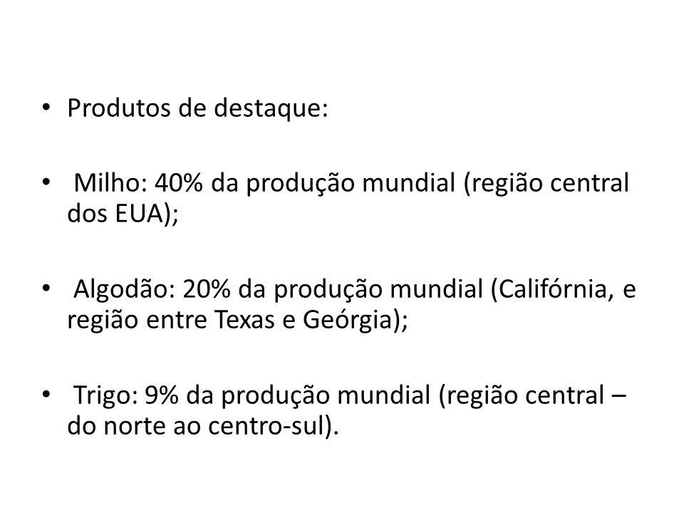 Produtos de destaque: Milho: 40% da produção mundial (região central dos EUA); Algodão: 20% da produção mundial (Califórnia, e região entre Texas e Ge