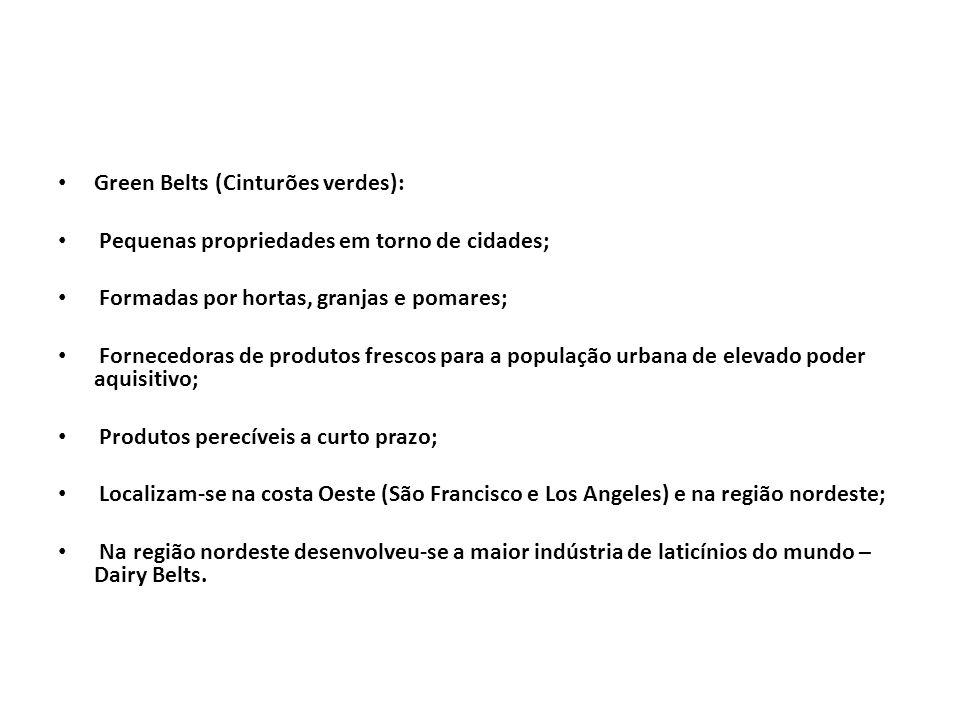 Green Belts (Cinturões verdes): Pequenas propriedades em torno de cidades; Formadas por hortas, granjas e pomares; Fornecedoras de produtos frescos pa