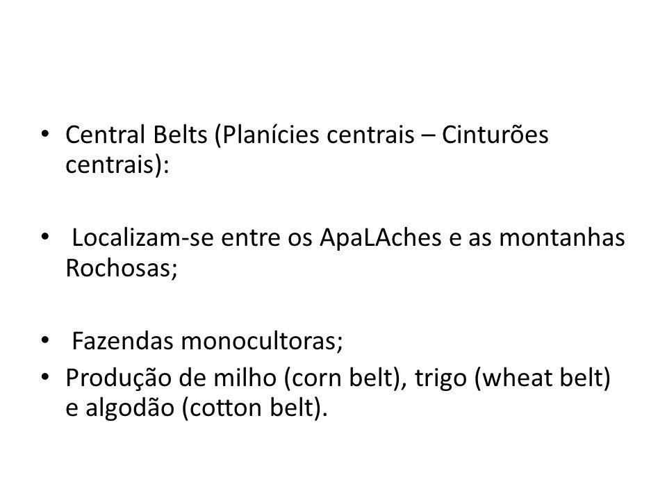 Central Belts (Planícies centrais – Cinturões centrais): Localizam-se entre os ApaLAches e as montanhas Rochosas; Fazendas monocultoras; Produção de m