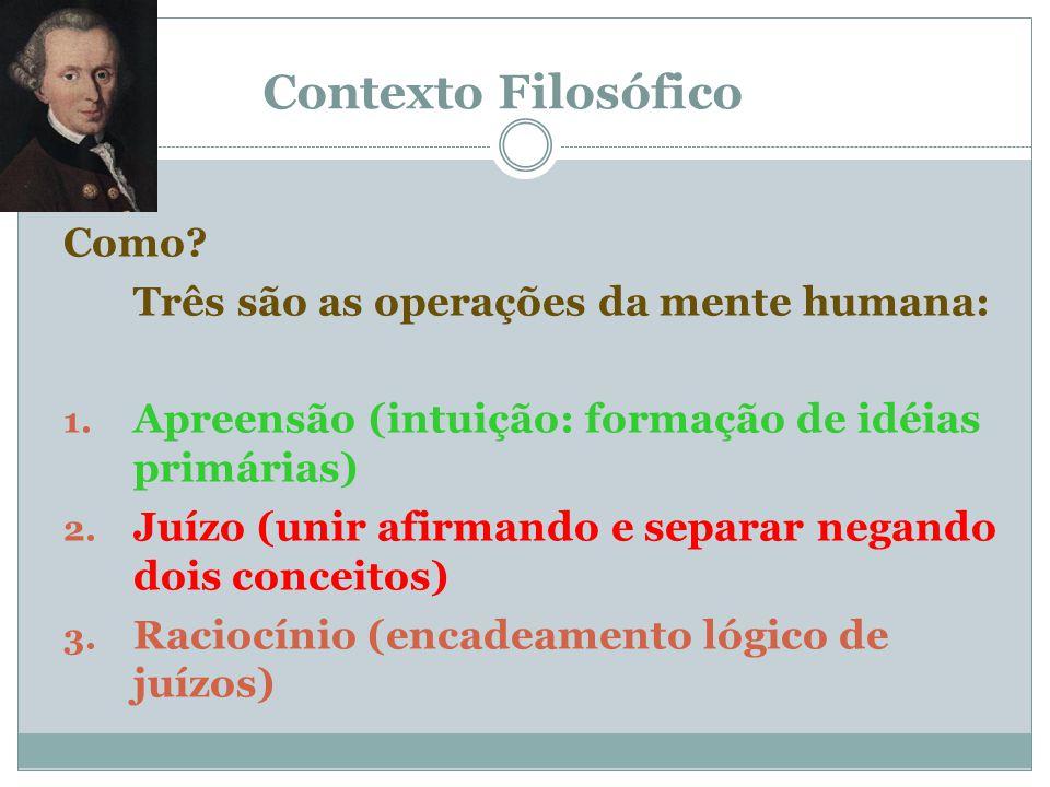 Contexto Filosófico Como? Analisando criticamente a atividade da mente humana com o objetivo de descobrir o seu funcionamento e estabelecer o valor de