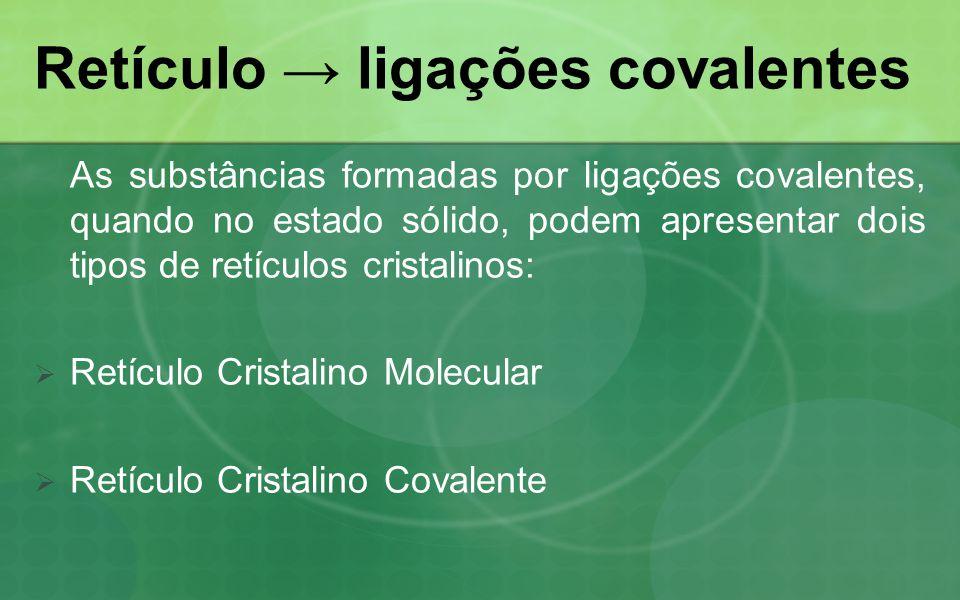 Retículo ligações covalentes As substâncias formadas por ligações covalentes, quando no estado sólido, podem apresentar dois tipos de retículos cristalinos: Retículo Cristalino Molecular Retículo Cristalino Covalente