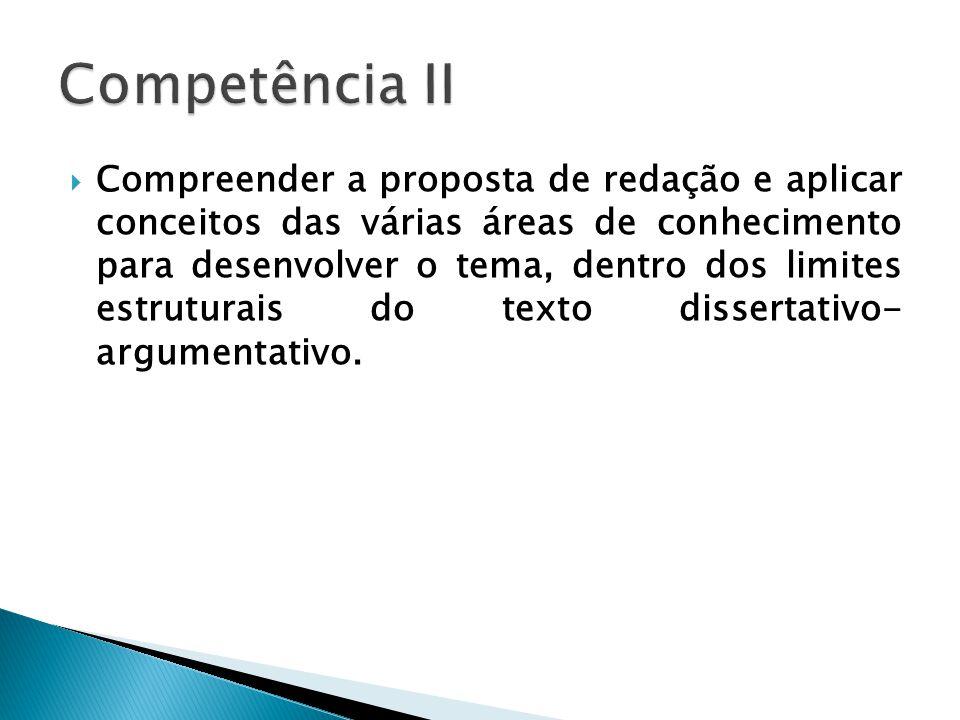 Compreender a proposta de redação e aplicar conceitos das várias áreas de conhecimento para desenvolver o tema, dentro dos limites estruturais do texto dissertativo- argumentativo.