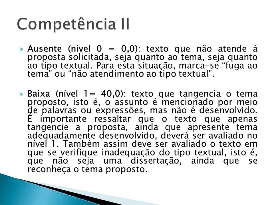 Ausente (nível 0 = 0,0): texto que não atende á proposta solicitada, seja quanto ao tema, seja quanto ao tipo textual.