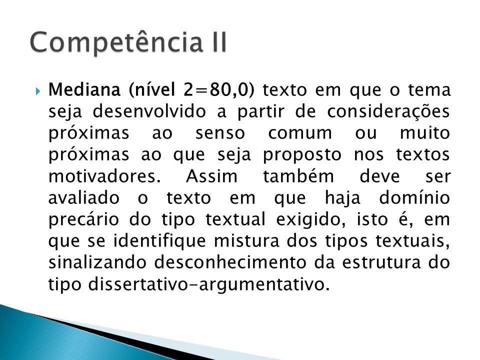 Mediana (nível 2=80,0) texto em que o tema seja desenvolvido a partir de considerações próximas ao senso comum ou muito próximas ao que seja proposto nos textos motivadores.