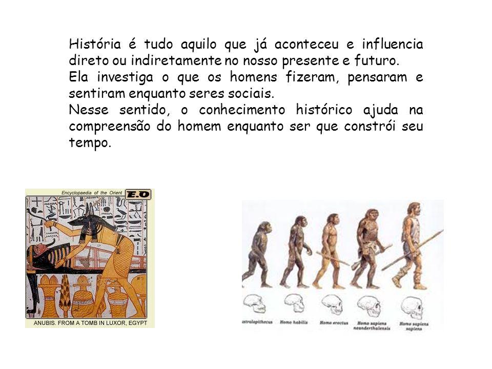 História é tudo aquilo que já aconteceu e influencia direto ou indiretamente no nosso presente e futuro. Ela investiga o que os homens fizeram, pensar