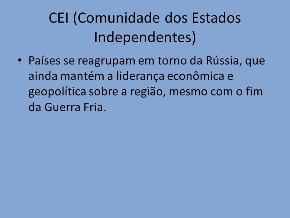 CEI (Comunidade dos Estados Independentes) Países se reagrupam em torno da Rússia, que ainda mantém a liderança econômica e geopolítica sobre a região