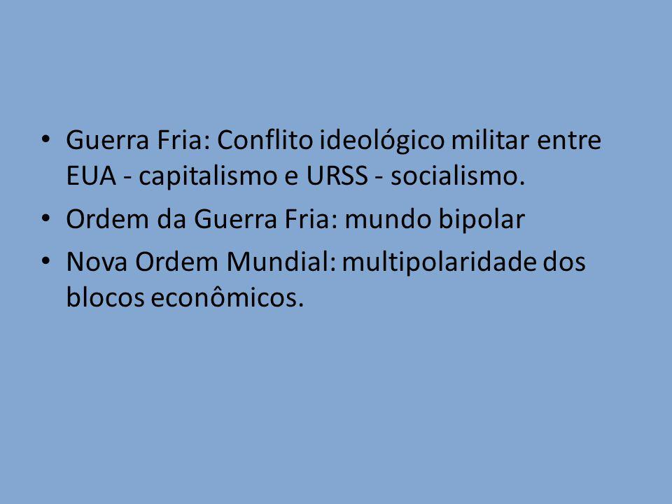 Guerra Fria: Conflito ideológico militar entre EUA - capitalismo e URSS - socialismo. Ordem da Guerra Fria: mundo bipolar Nova Ordem Mundial: multipol