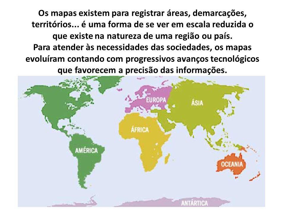 Os mapas existem para registrar áreas, demarcações, territórios... é uma forma de se ver em escala reduzida o que existe na natureza de uma região ou