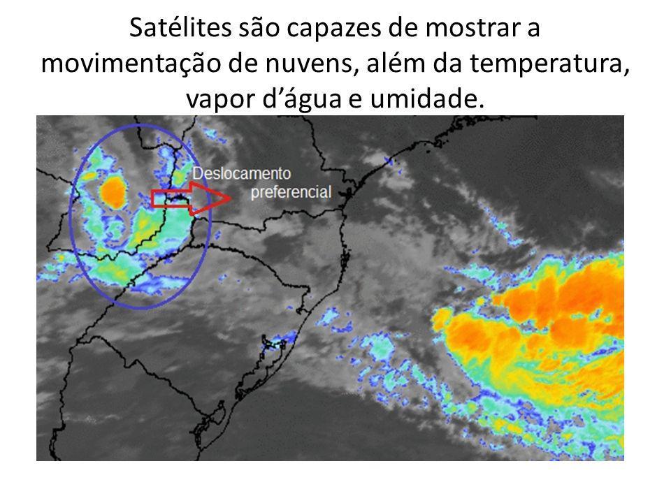 Satélites são capazes de mostrar a movimentação de nuvens, além da temperatura, vapor dágua e umidade.