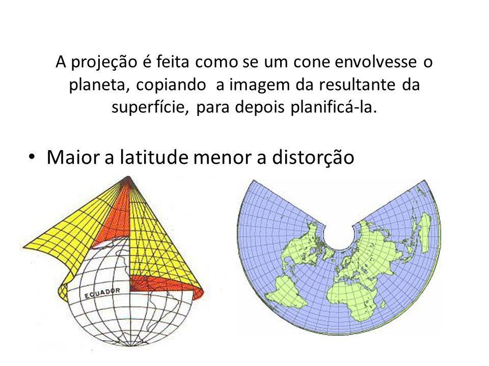 A projeção é feita como se um cone envolvesse o planeta, copiando a imagem da resultante da superfície, para depois planificá-la.