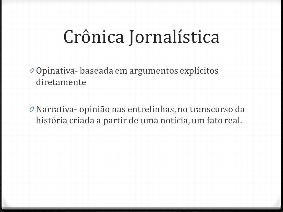 Crônica Jornalística 0 Opinativa- baseada em argumentos explícitos diretamente 0 Narrativa- opinião nas entrelinhas, no transcurso da história criada