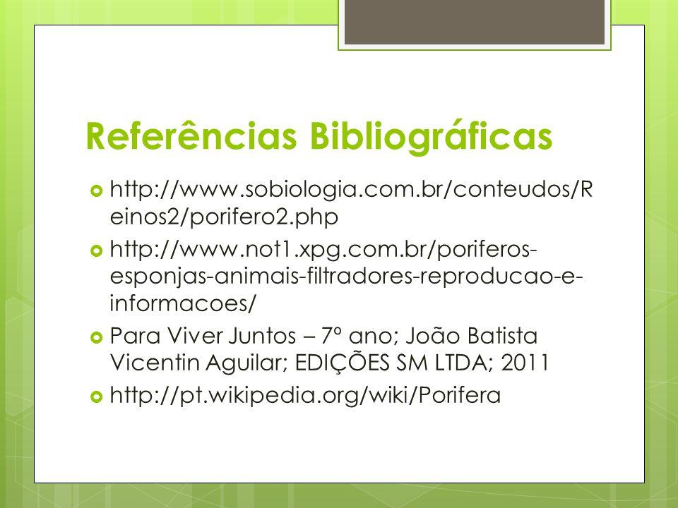 Referências Bibliográficas http://www.sobiologia.com.br/conteudos/R einos2/porifero2.php http://www.not1.xpg.com.br/poriferos- esponjas-animais-filtra