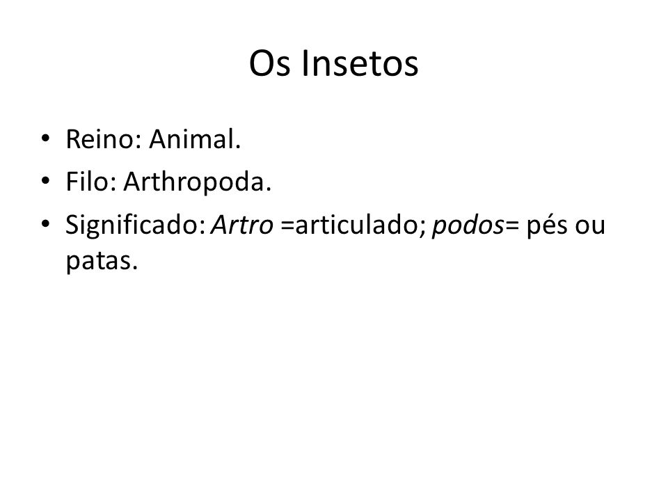 Os Insetos Reino: Animal. Filo: Arthropoda. Significado: Artro =articulado; podos= pés ou patas.