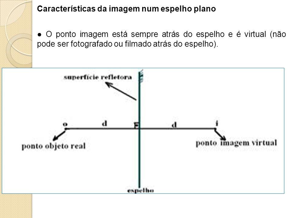 Características da imagem num espelho plano O ponto imagem está sempre atrás do espelho e é virtual (não pode ser fotografado ou filmado atrás do espe