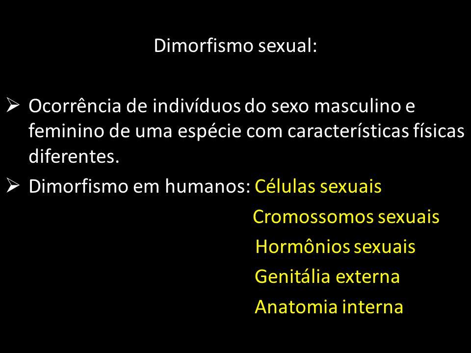 Dimorfismo sexual: Ocorrência de indivíduos do sexo masculino e feminino de uma espécie com características físicas diferentes.