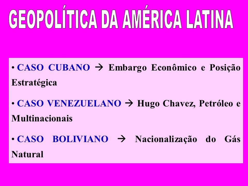 CASO CUBANO Embargo Econômico e Posição Estratégica CASO VENEZUELANO Hugo Chavez, Petróleo e Multinacionais CASO BOLIVIANO Nacionalização do Gás Natural