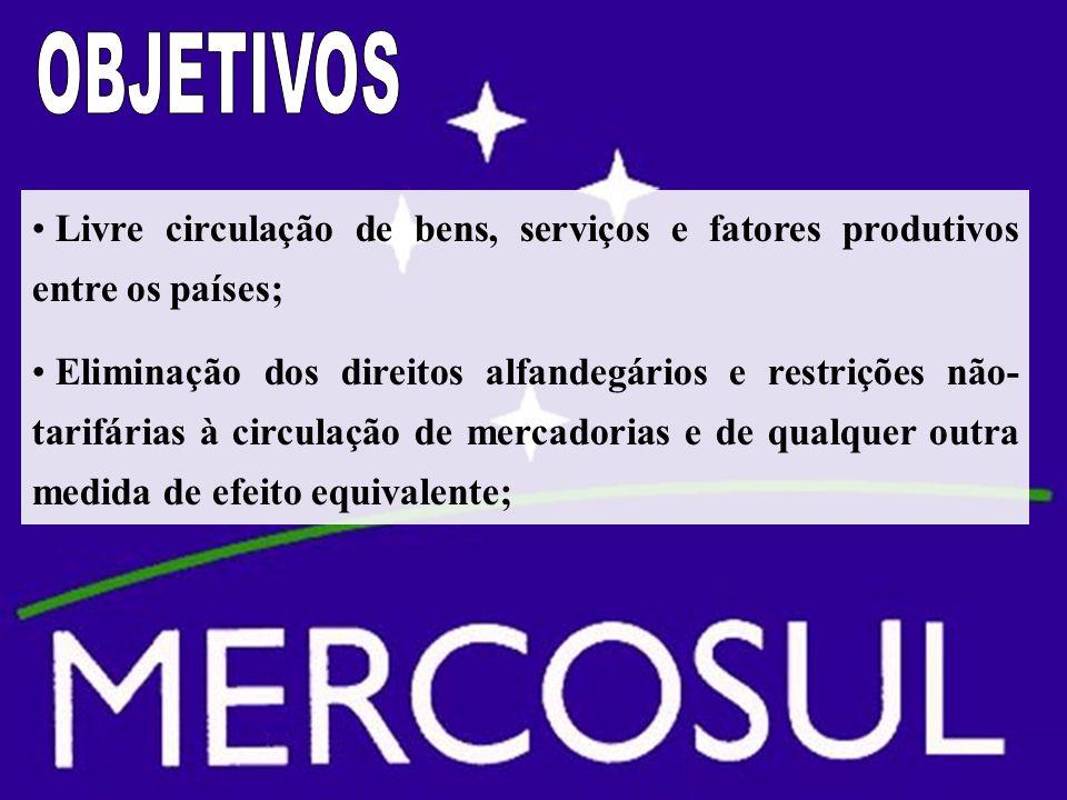 Livre circulação de bens, serviços e fatores produtivos entre os países; Eliminação dos direitos alfandegários e restrições não- tarifárias à circulação de mercadorias e de qualquer outra medida de efeito equivalente;