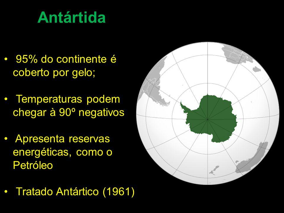 Antártida 95% do continente é coberto por gelo; Temperaturas podem chegar à 90º negativos Apresenta reservas energéticas, como o Petróleo Tratado Antártico (1961)
