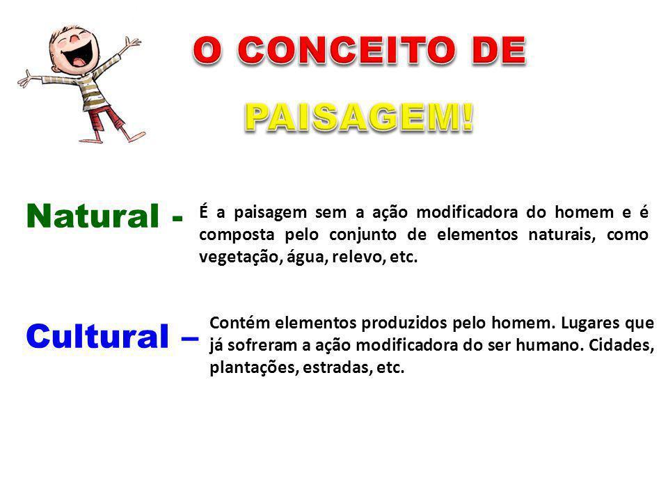 (Extrações) (Lixos) Natural - Cultural – É a paisagem sem a ação modificadora do homem e é composta pelo conjunto de elementos naturais, como vegetaçã