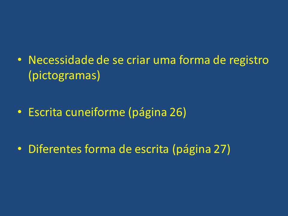 Necessidade de se criar uma forma de registro (pictogramas) Escrita cuneiforme (página 26) Diferentes forma de escrita (página 27)