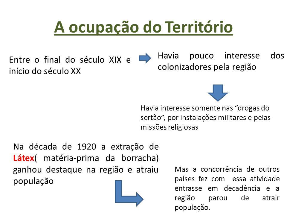 A ocupação do Território Entre o final do século XIX e início do século XX Havia pouco interesse dos colonizadores pela região Havia interesse somente
