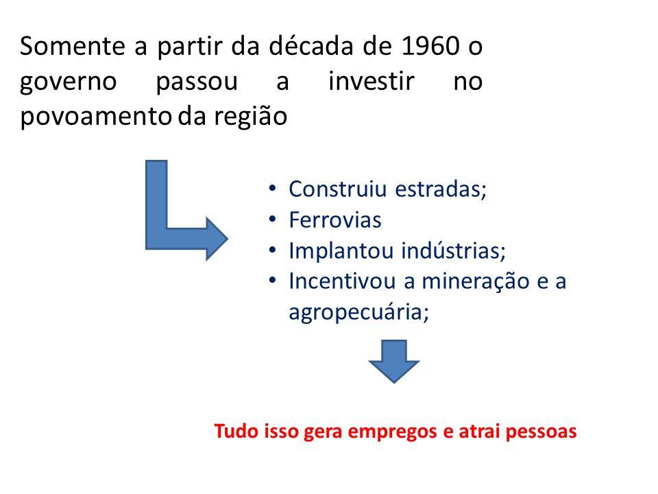 Somente a partir da década de 1960 o governo passou a investir no povoamento da região Construiu estradas; Ferrovias Implantou indústrias; Incentivou
