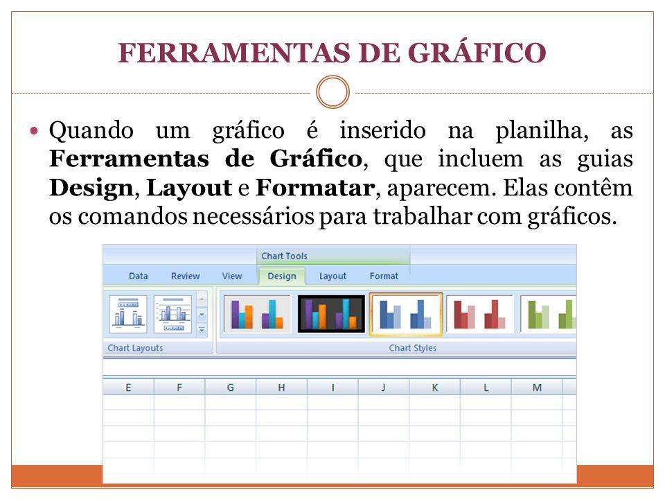 FERRAMENTAS DE GRÁFICO Quando um gráfico é inserido na planilha, as Ferramentas de Gráfico, que incluem as guias Design, Layout e Formatar, aparecem.