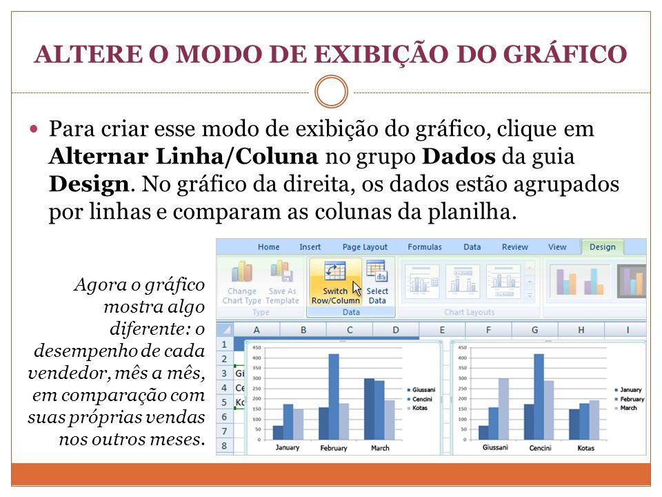 ALTERE O MODO DE EXIBIÇÃO DO GRÁFICO Para criar esse modo de exibição do gráfico, clique em Alternar Linha/Coluna no grupo Dados da guia Design.