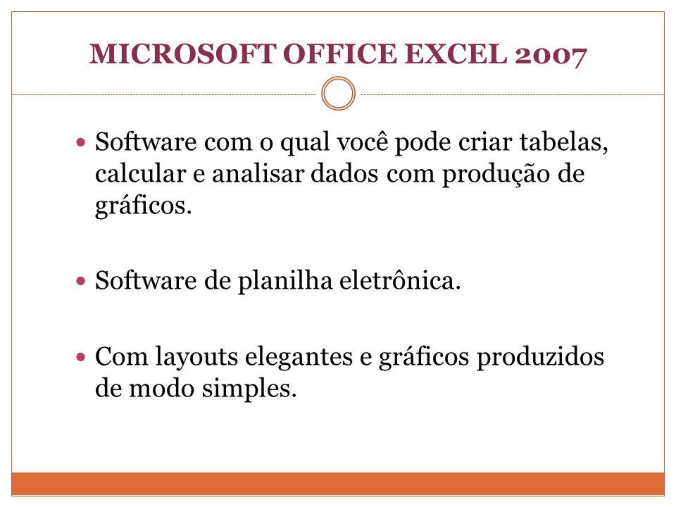 MICROSOFT OFFICE EXCEL 2007 Software com o qual você pode criar tabelas, calcular e analisar dados com produção de gráficos.