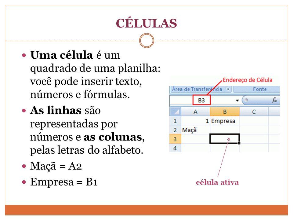 CÉLULAS Uma célula é um quadrado de uma planilha: você pode inserir texto, números e fórmulas.