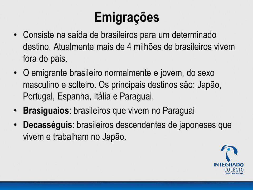 Emigrações Consiste na saída de brasileiros para um determinado destino. Atualmente mais de 4 milhões de brasileiros vivem fora do pais. O emigrante b