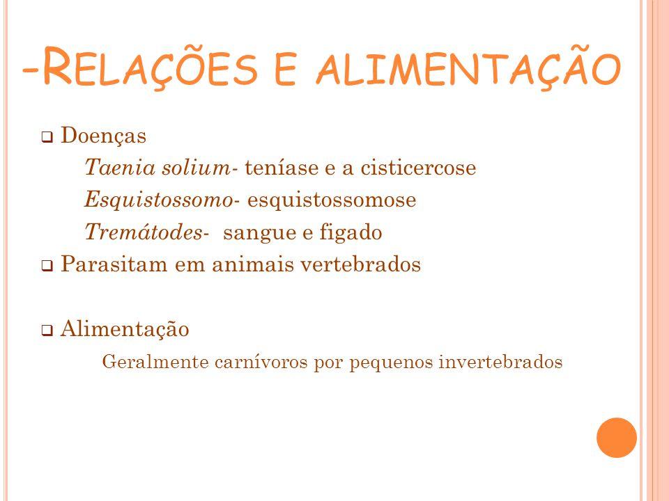 -R ELAÇÕES E ALIMENTAÇÃO Doenças Taenia solium- teníase e a cisticercose Esquistossomo - esquistossomose Tremátodes - sangue e figado Parasitam em ani